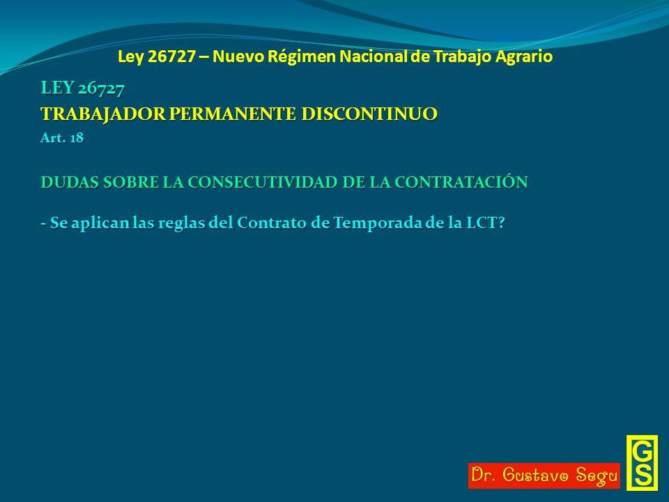 Ley 26727 – Nuevo Régimen Nacional de Trabajo Agrario