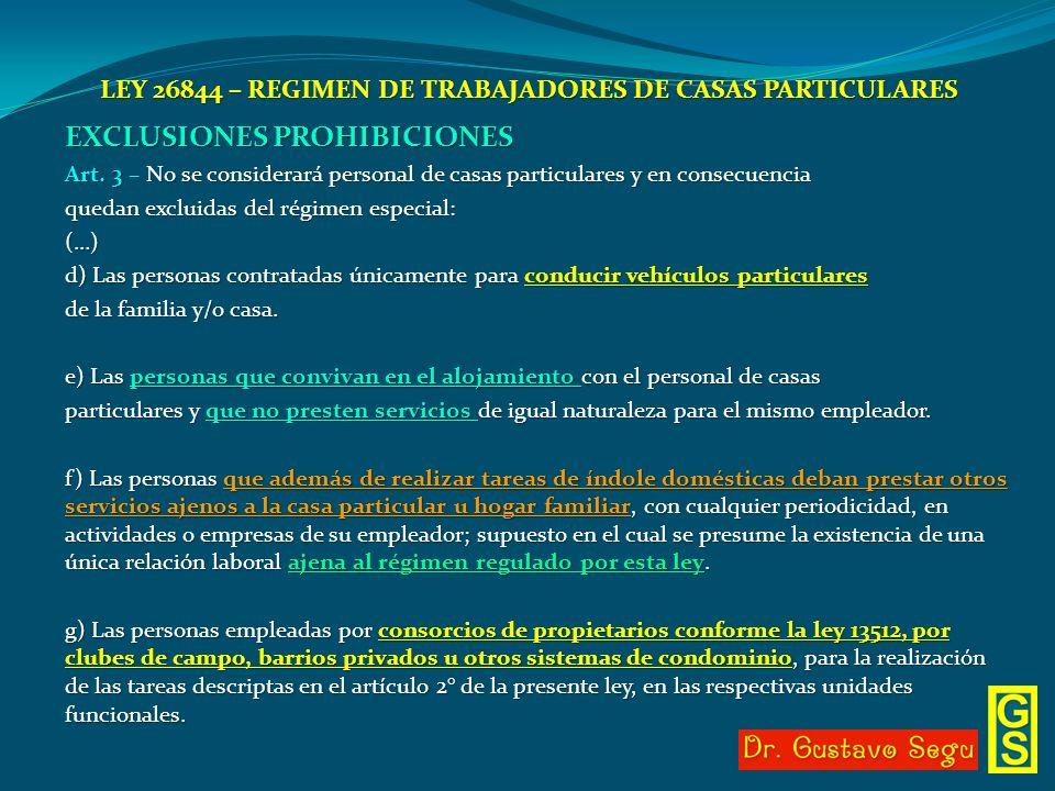 LEY 26844 – REGIMEN DE TRABAJADORES DE CASAS PARTICULARES