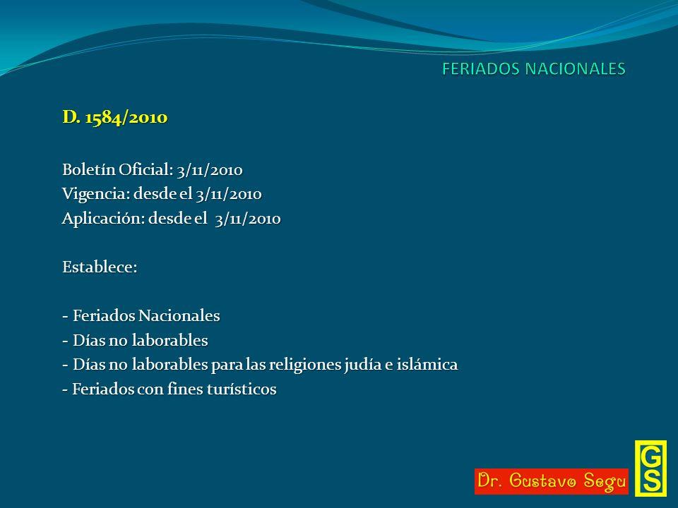 FERIADOS NACIONALES D. 1584/2010 Boletín Oficial: 3/11/2010