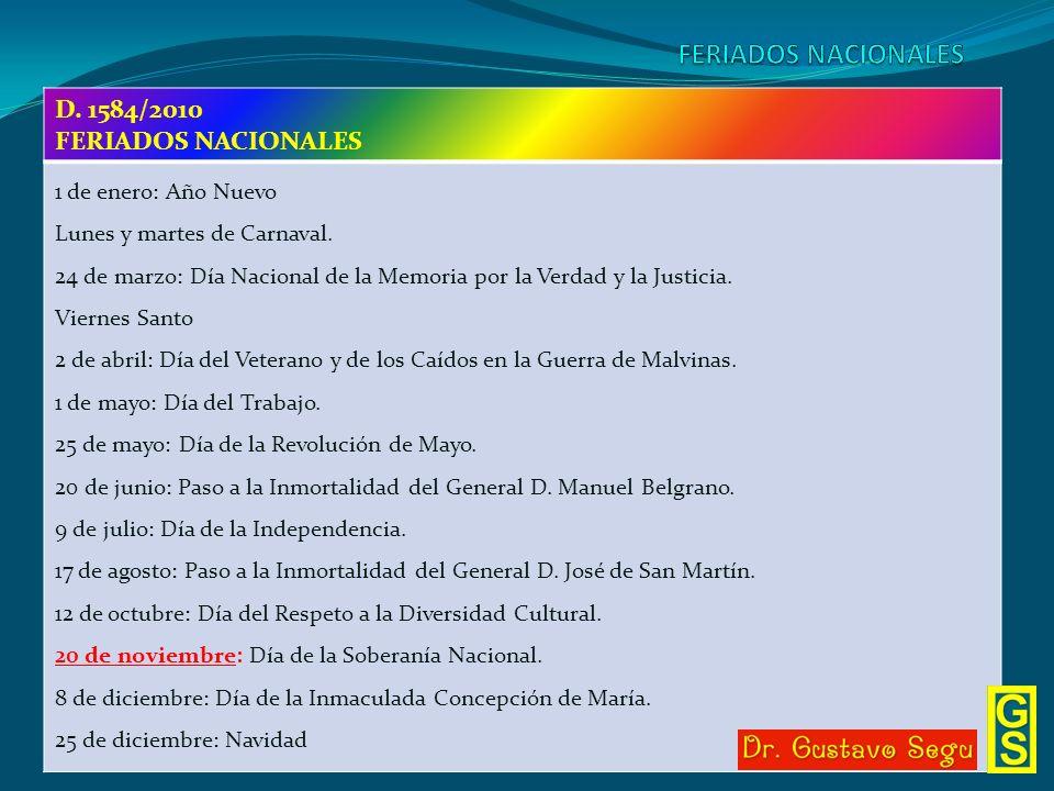 FERIADOS NACIONALES D. 1584/2010 FERIADOS NACIONALES