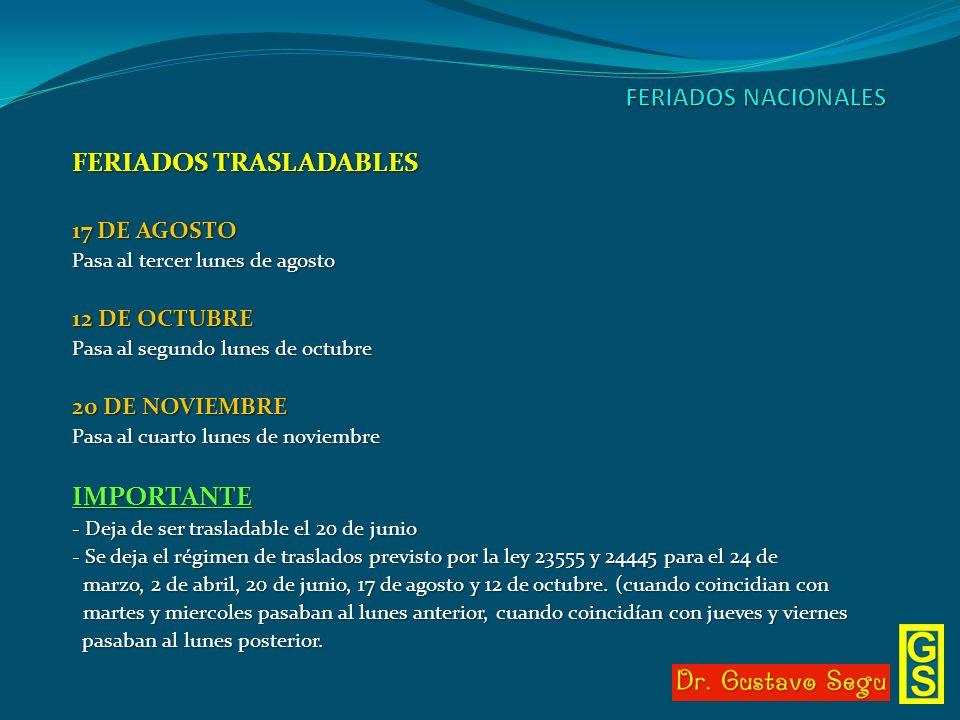 FERIADOS TRASLADABLES