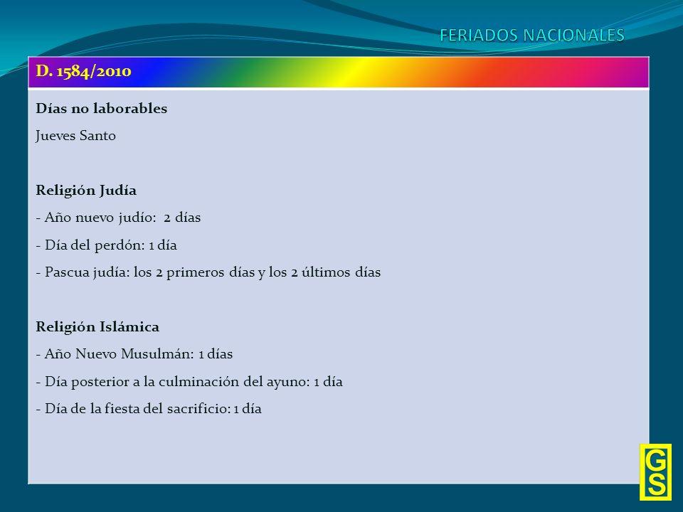FERIADOS NACIONALES D. 1584/2010 Días no laborables Jueves Santo