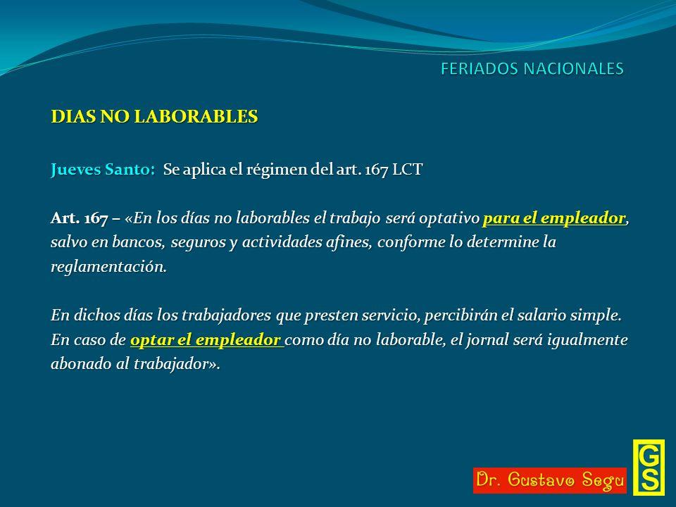 FERIADOS NACIONALES DIAS NO LABORABLES