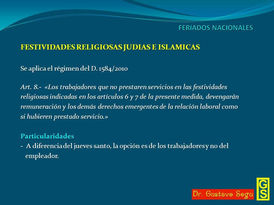 FESTIVIDADES RELIGIOSAS JUDIAS E ISLAMICAS