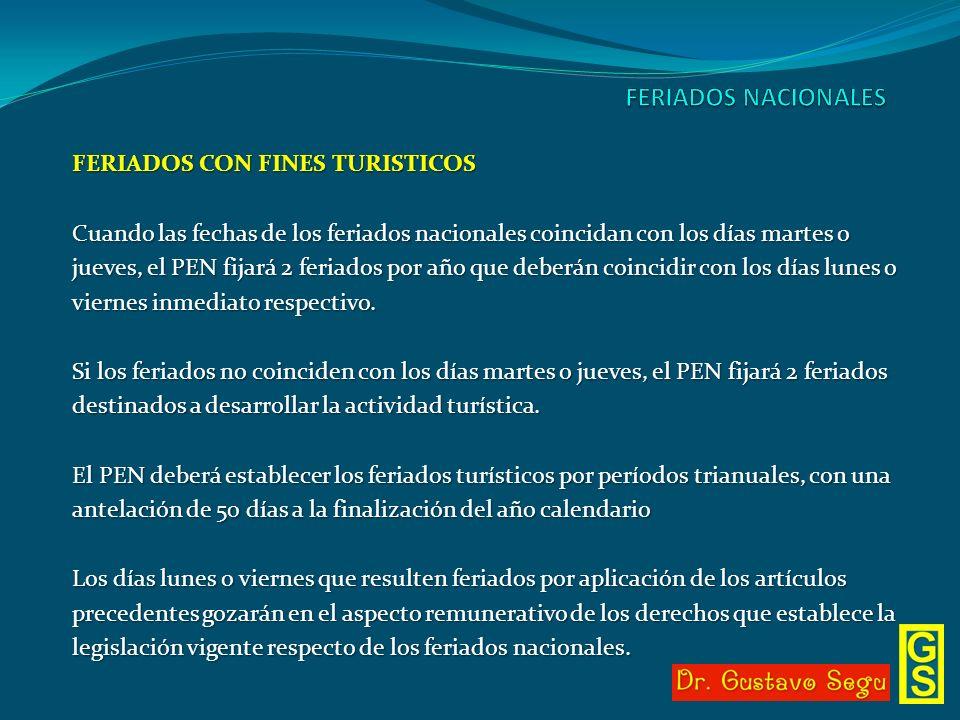 FERIADOS NACIONALES FERIADOS CON FINES TURISTICOS