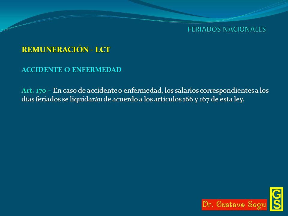 FERIADOS NACIONALES REMUNERACIÓN - LCT ACCIDENTE O ENFERMEDAD