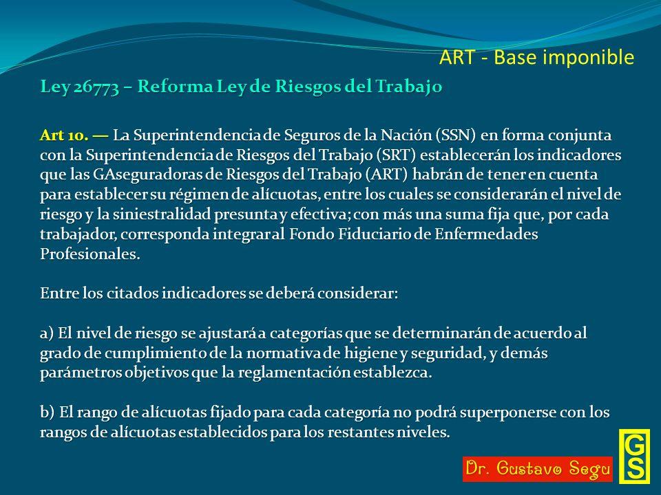 ART - Base imponible Ley 26773 – Reforma Ley de Riesgos del Trabajo