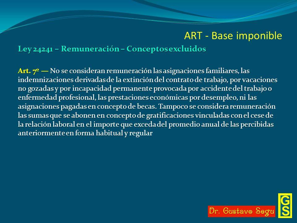 ART - Base imponible Ley 24241 – Remuneración – Conceptos excluidos