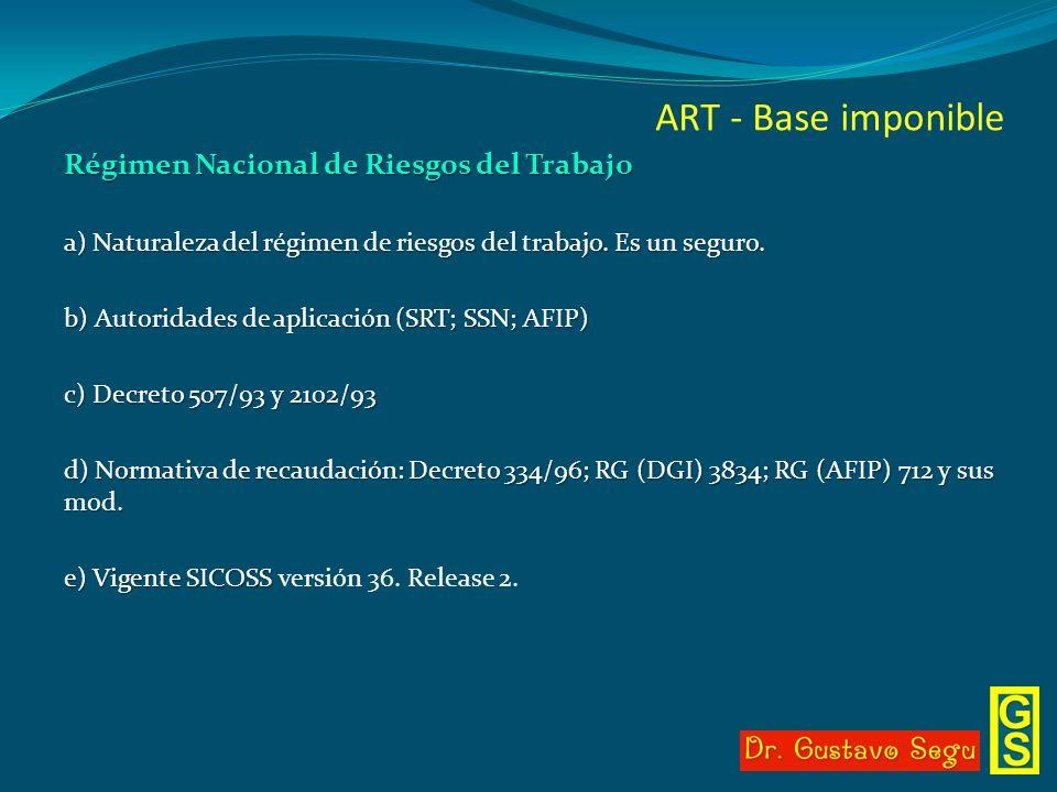 ART - Base imponible Régimen Nacional de Riesgos del Trabajo