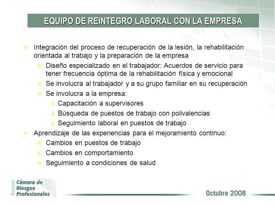 EQUIPO DE REINTEGRO LABORAL CON LA EMPRESA