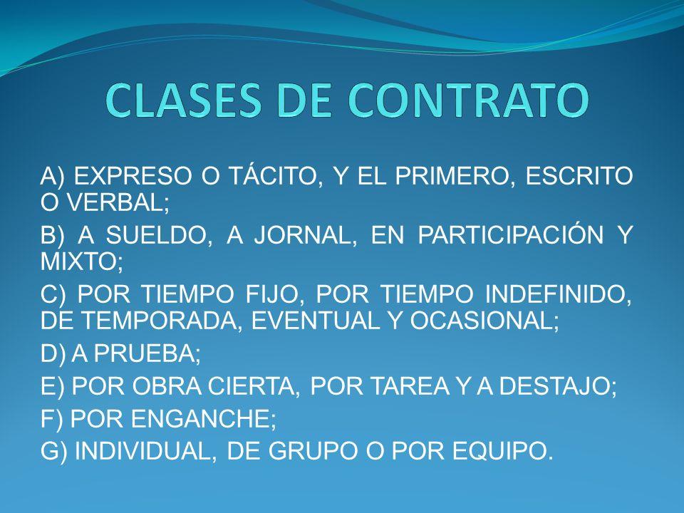 CLASES DE CONTRATO A) EXPRESO O TÁCITO, Y EL PRIMERO, ESCRITO O VERBAL; B) A SUELDO, A JORNAL, EN PARTICIPACIÓN Y MIXTO;