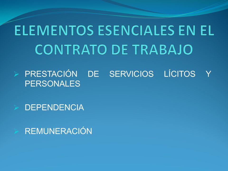 ELEMENTOS ESENCIALES EN EL CONTRATO DE TRABAJO