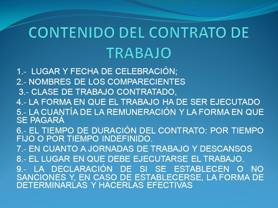 CONTENIDO DEL CONTRATO DE TRABAJO