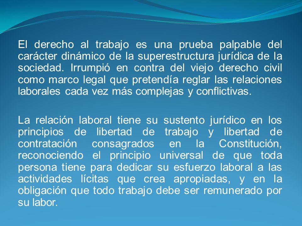 El derecho al trabajo es una prueba palpable del carácter dinámico de la superestructura jurídica de la sociedad. Irrumpió en contra del viejo derecho civil como marco legal que pretendía reglar las relaciones laborales cada vez más complejas y conflictivas.