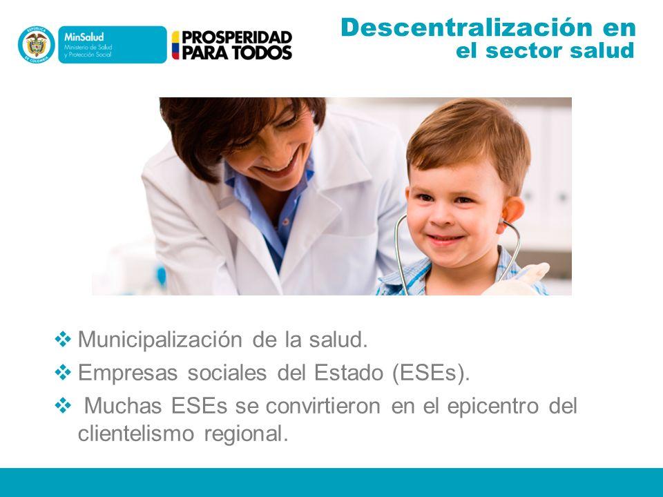 Descentralización en Municipalización de la salud.