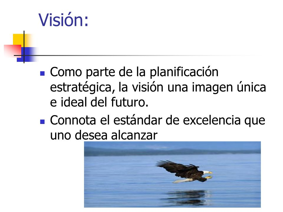 Visión:Como parte de la planificación estratégica, la visión una imagen única e ideal del futuro.
