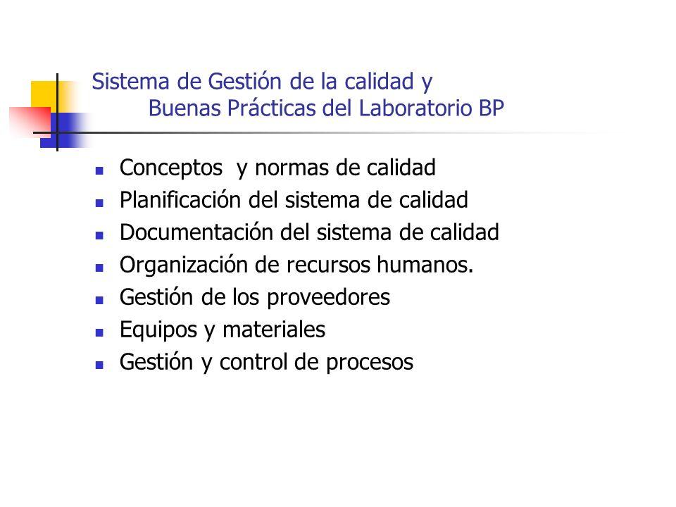 Sistema de Gestión de la calidad y Buenas Prácticas del Laboratorio BP