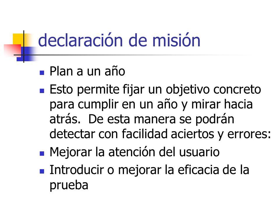 declaración de misión Plan a un año