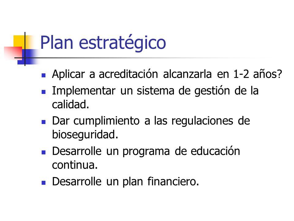 Plan estratégico Aplicar a acreditación alcanzarla en 1-2 años