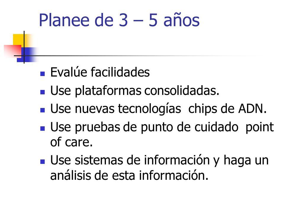 Planee de 3 – 5 años Evalúe facilidades Use plataformas consolidadas.