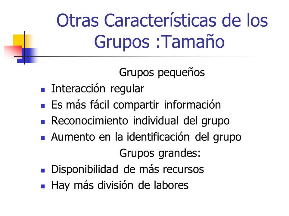 Otras Características de los Grupos :Tamaño