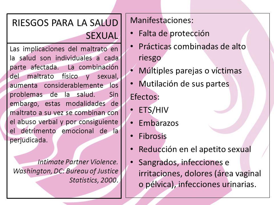 RIESGOS PARA LA SALUD SEXUAL