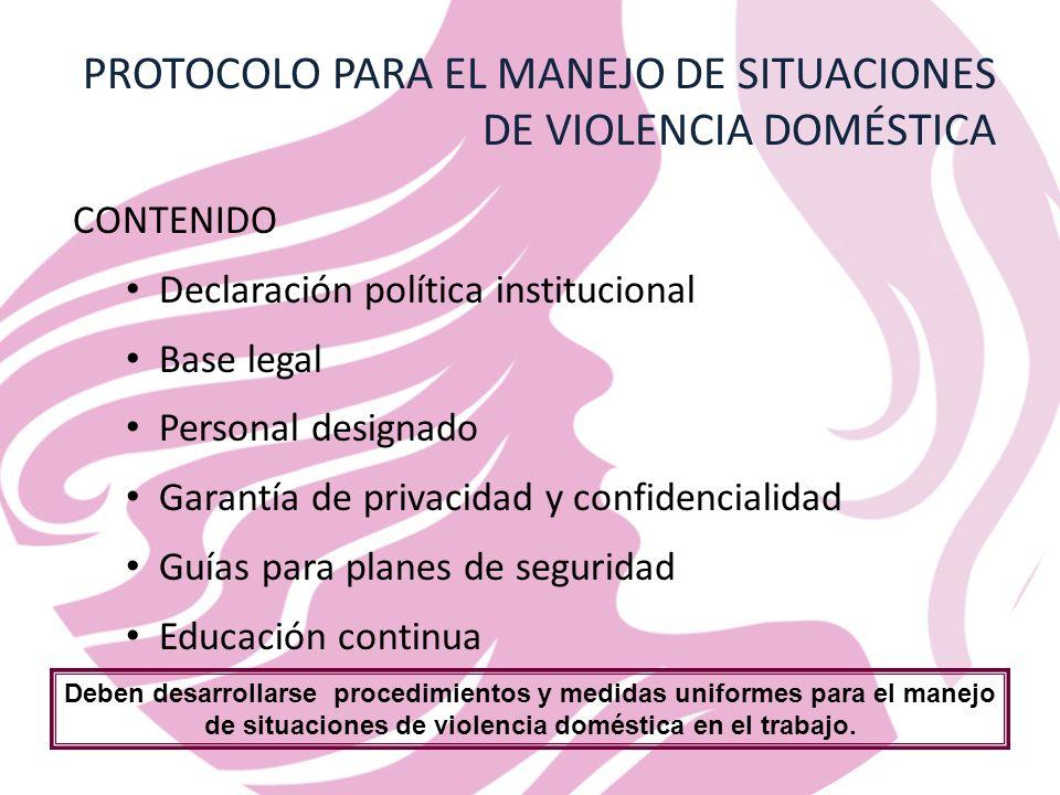 PROTOCOLO PARA EL MANEJO DE SITUACIONES DE VIOLENCIA DOMÉSTICA