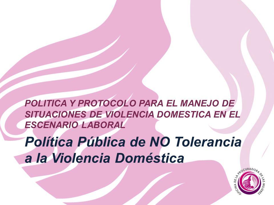 Política Pública de NO Tolerancia a la Violencia Doméstica