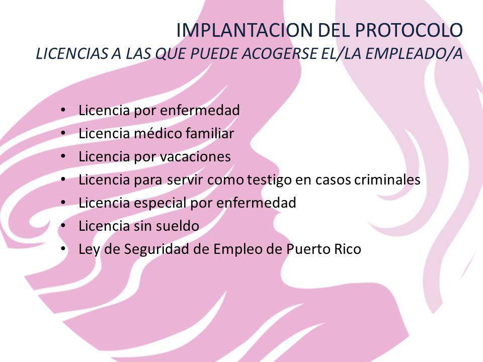 IMPLANTACION DEL PROTOCOLO LICENCIAS A LAS QUE PUEDE ACOGERSE EL/LA EMPLEADO/A