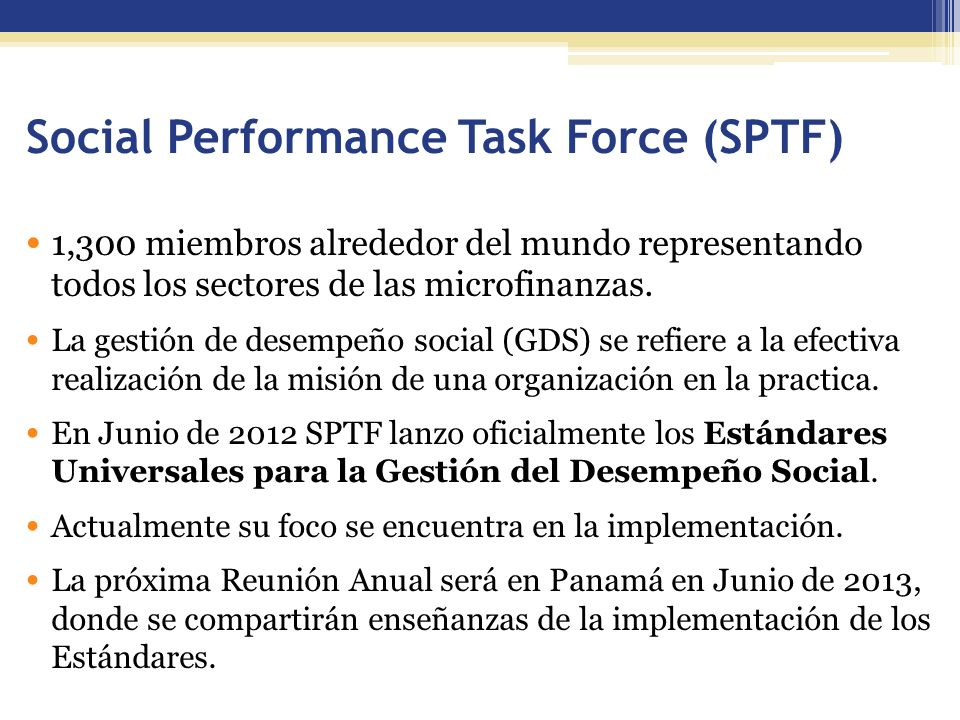 Social Performance Task Force (SPTF)