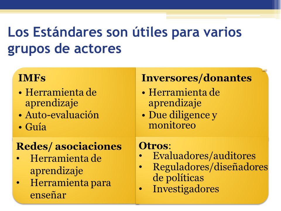 Los Estándares son útiles para varios grupos de actores