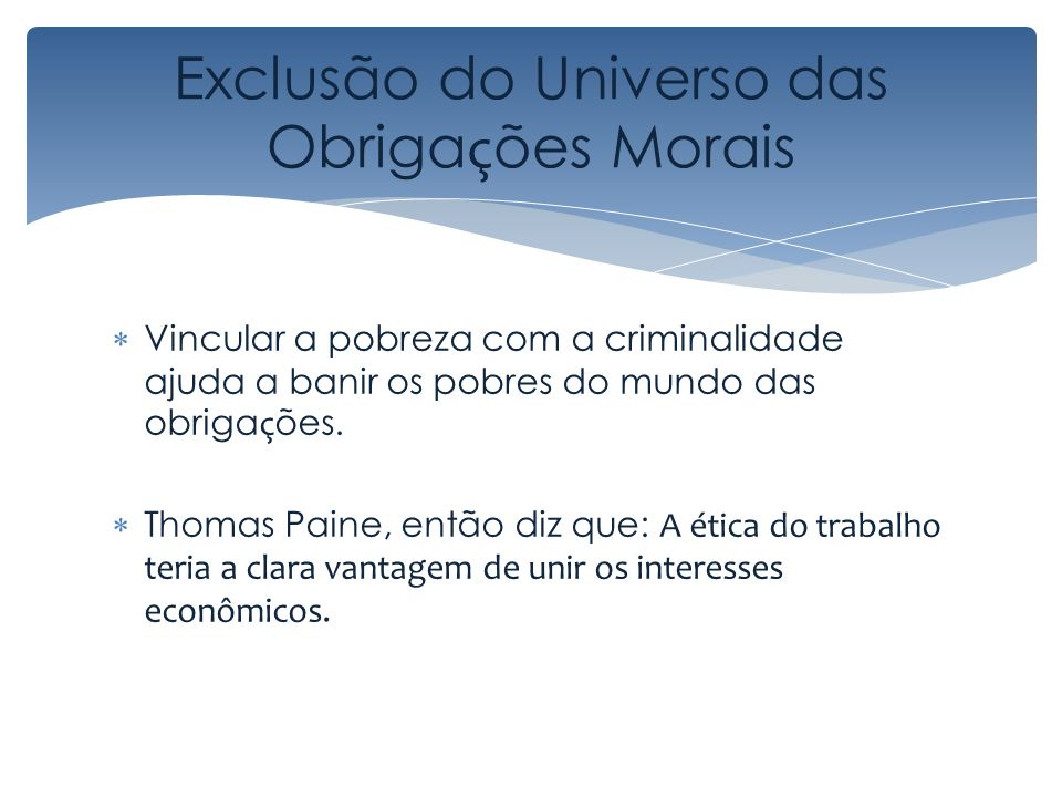 Exclusão do Universo das Obrigações Morais
