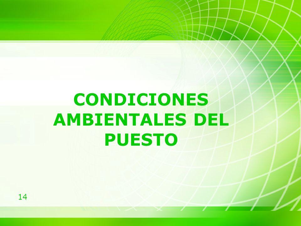CONDICIONES AMBIENTALES DEL PUESTO