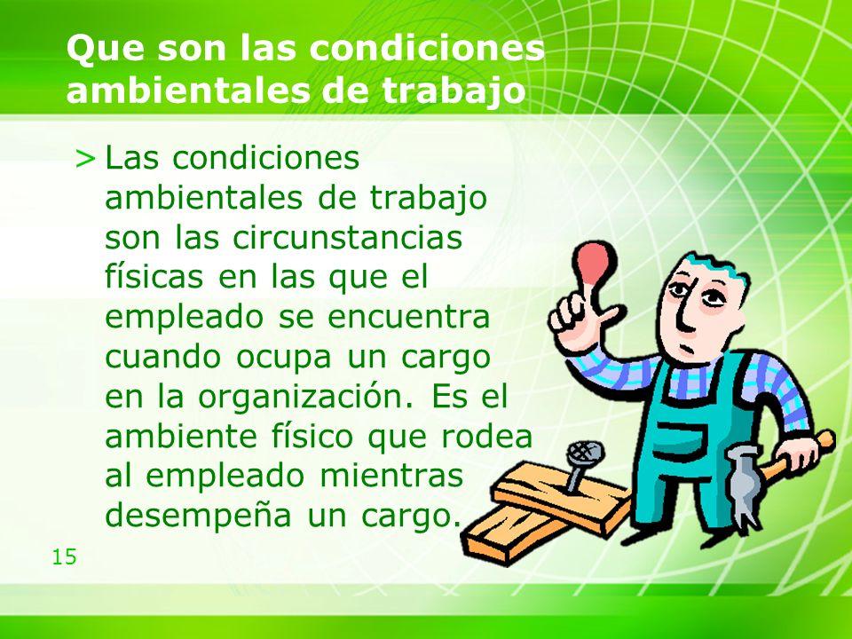 Que son las condiciones ambientales de trabajo