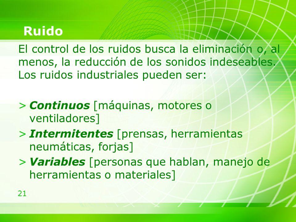 Ruido El control de los ruidos busca la eliminación o, al menos, la reducción de los sonidos indeseables. Los ruidos industriales pueden ser: