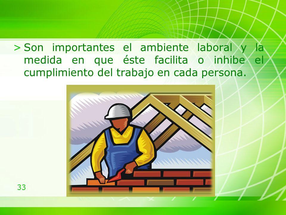 Son importantes el ambiente laboral y la medida en que éste facilita o inhibe el cumplimiento del trabajo en cada persona.