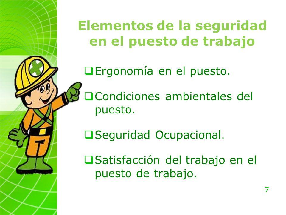 Elementos de la seguridad en el puesto de trabajo