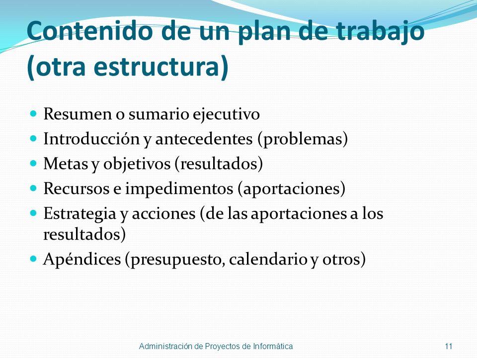 Contenido de un plan de trabajo (otra estructura)