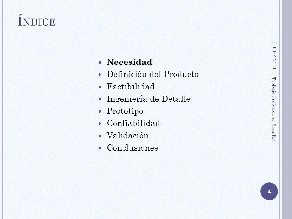 Índice Necesidad Definición del Producto Factibilidad