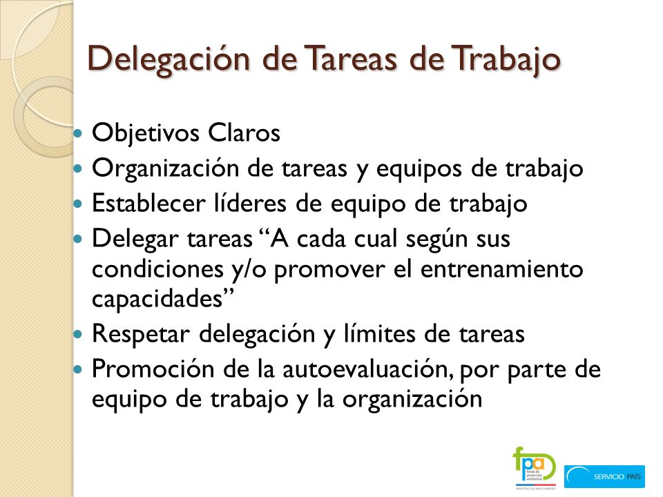 Delegación de Tareas de Trabajo