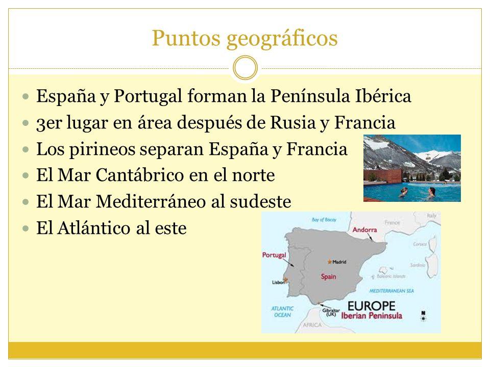 Puntos geográficos España y Portugal forman la Península Ibérica