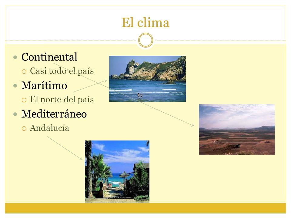 El clima Continental Marítimo Mediterráneo Casi todo el país