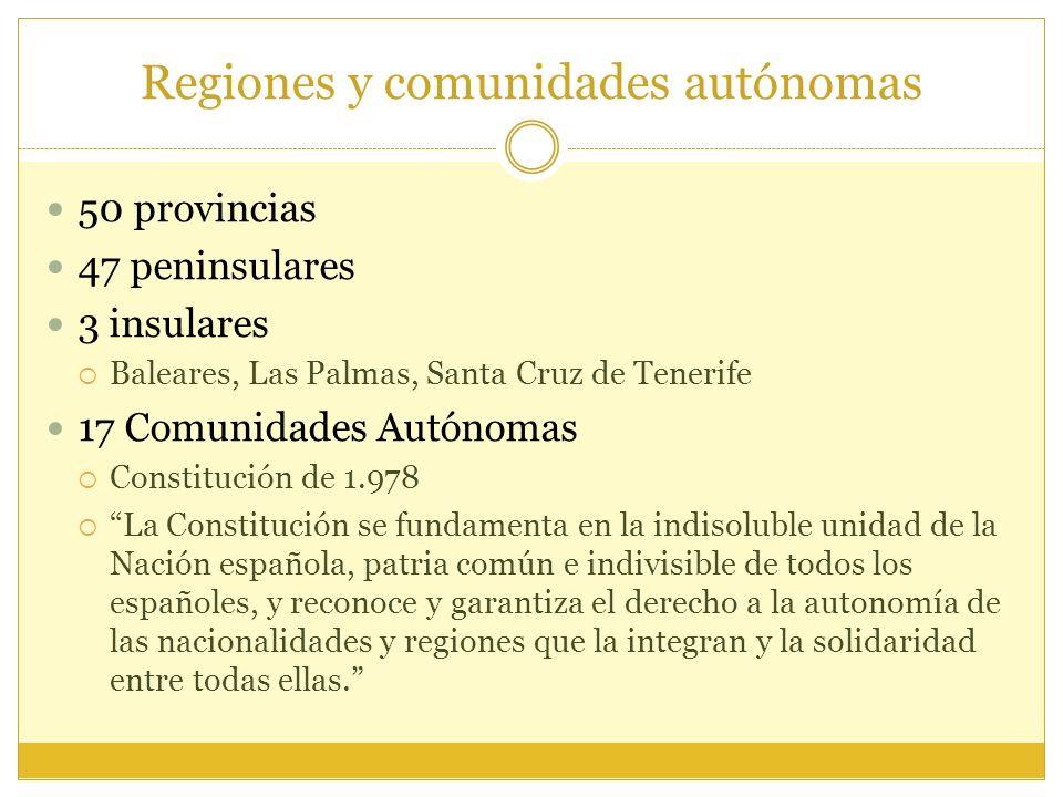 Regiones y comunidades autónomas