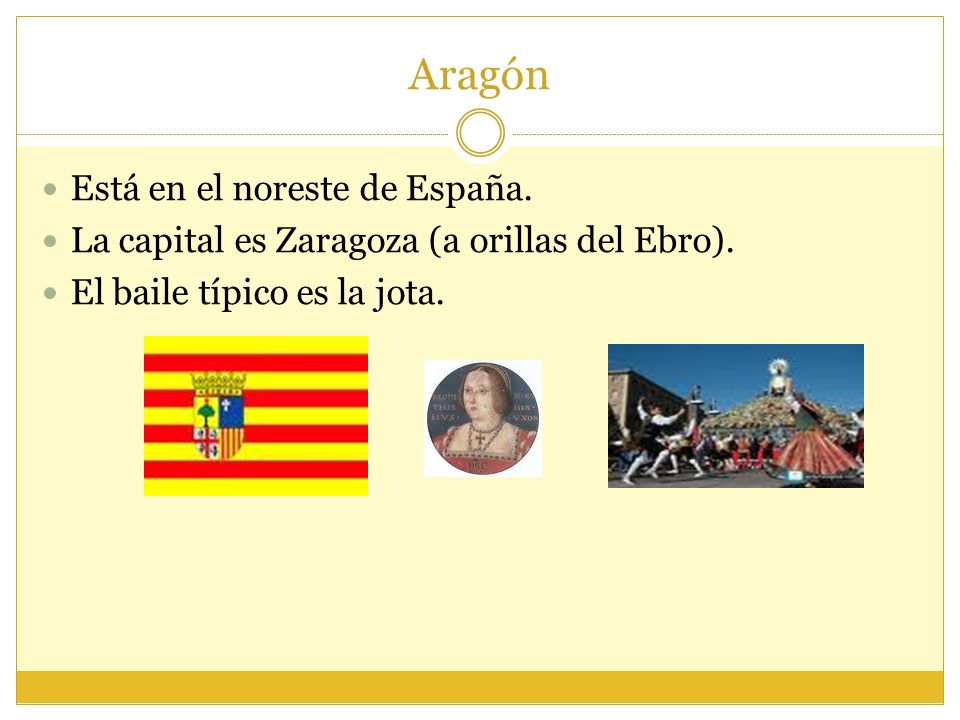Aragón Está en el noreste de España.