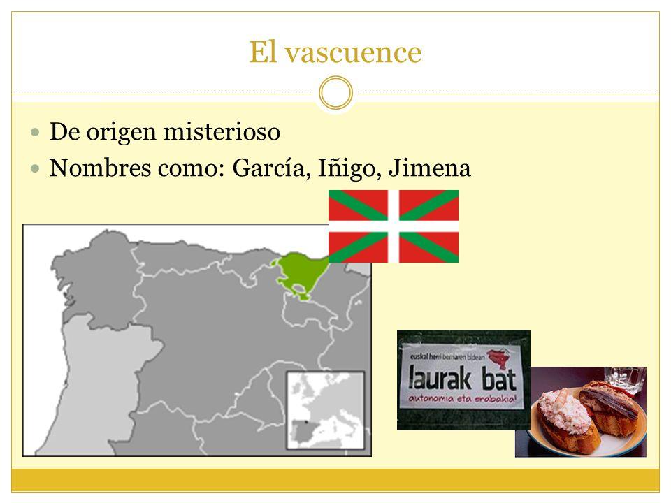 El vascuence De origen misterioso Nombres como: García, Iñigo, Jimena