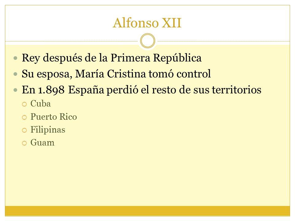 Alfonso XII Rey después de la Primera República