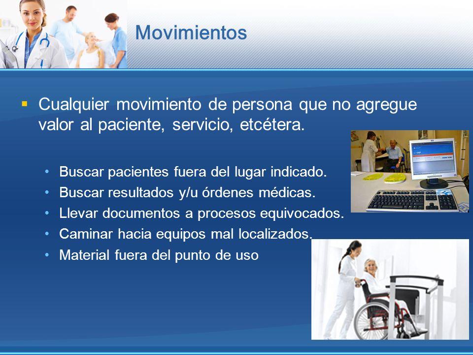 Movimientos Cualquier movimiento de persona que no agregue valor al paciente, servicio, etcétera. Buscar pacientes fuera del lugar indicado.