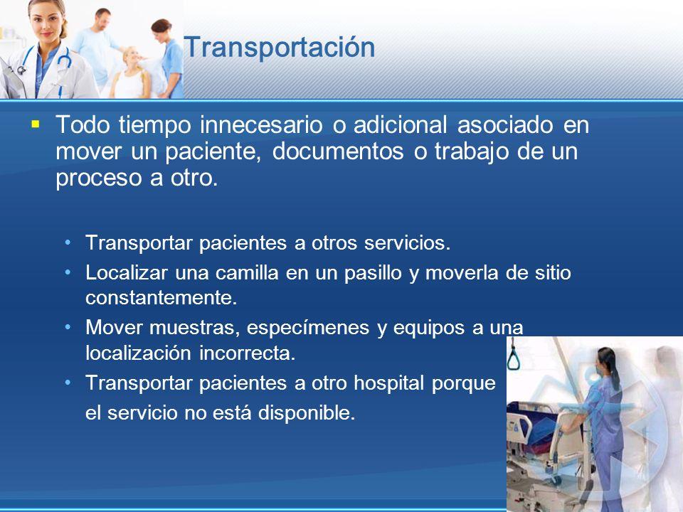 Transportación Todo tiempo innecesario o adicional asociado en mover un paciente, documentos o trabajo de un proceso a otro.