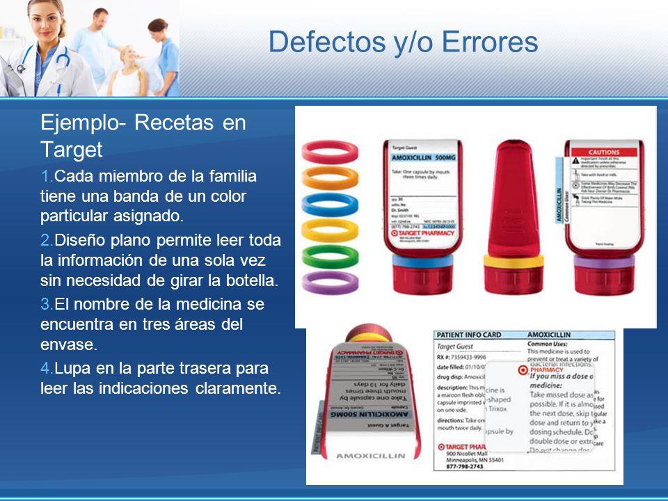 Defectos y/o Errores Ejemplo- Recetas en Target