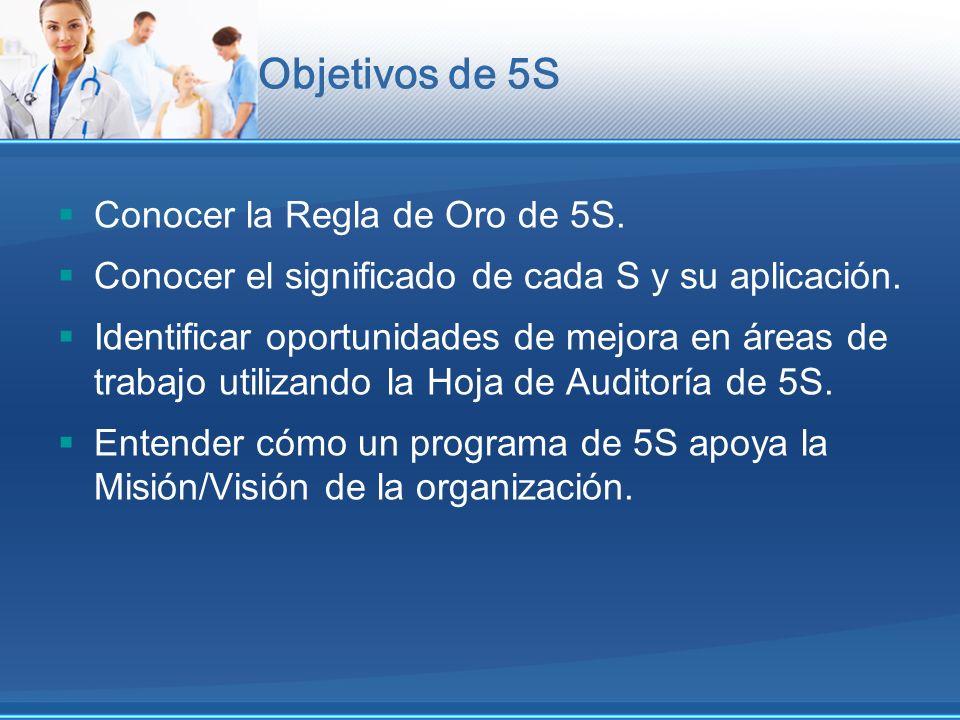 Objetivos de 5S Conocer la Regla de Oro de 5S.